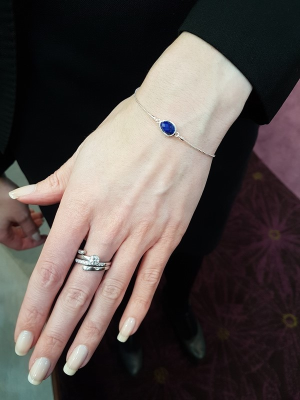 Kit Heath lapis bracelet being worn