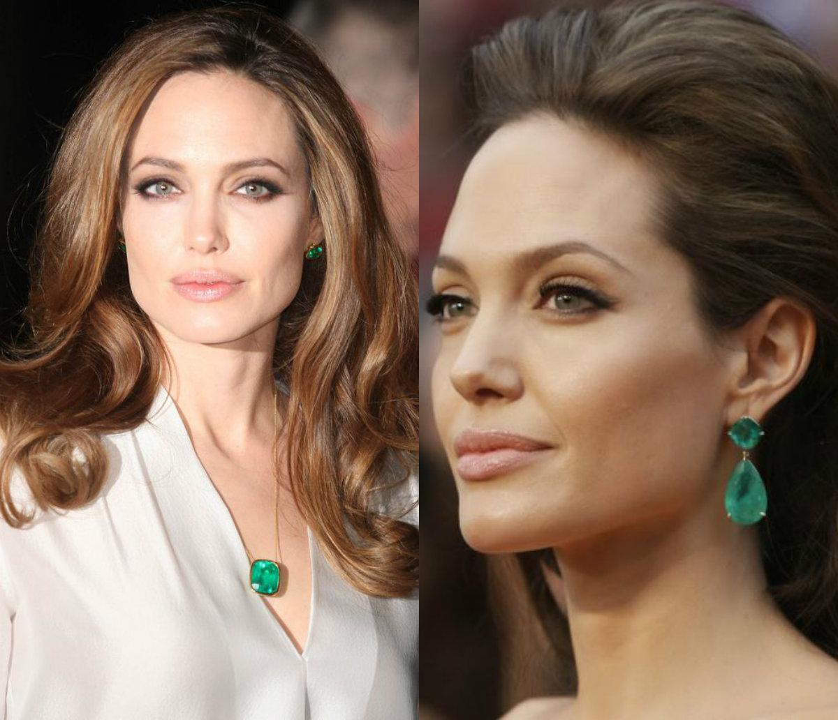 Angelina Jolie emerald jewellery