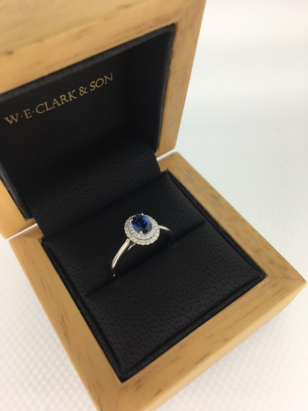 Clark Collection white gold sapphire and diamond halo ring