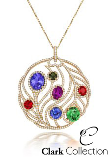 'In Full Bloom'. A wonderful pendant set with a collection of precious gemstones; tanzanite, purple sapphire, tourmaline, ruby and sapphire.