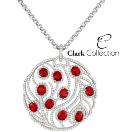 Very rare Red Sapphires, beautfully set into this striking pendant.