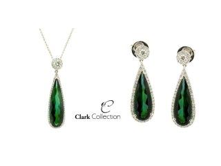 Beautifully matched Green Tourmaline & Diamond Pendant and Earring set.