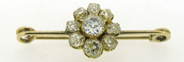 Diamond cluster yellow gold brooch