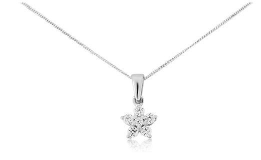 9ct white gold diamond set star neckace