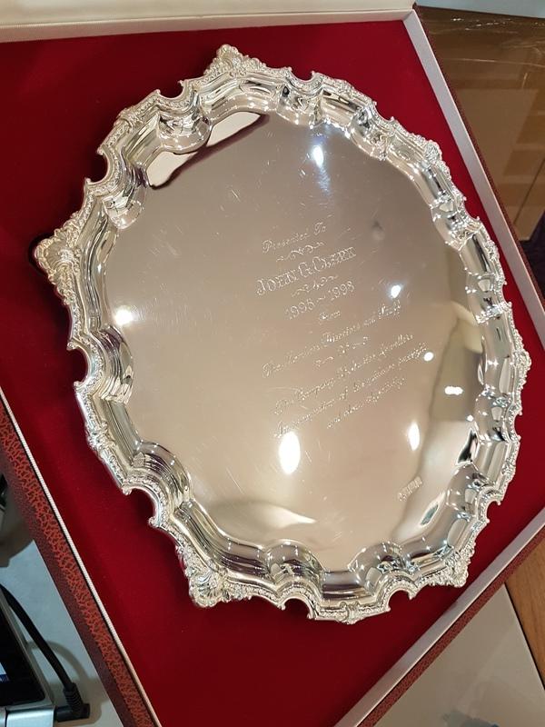 CMJ silver salver dedicated to Mr John Clark