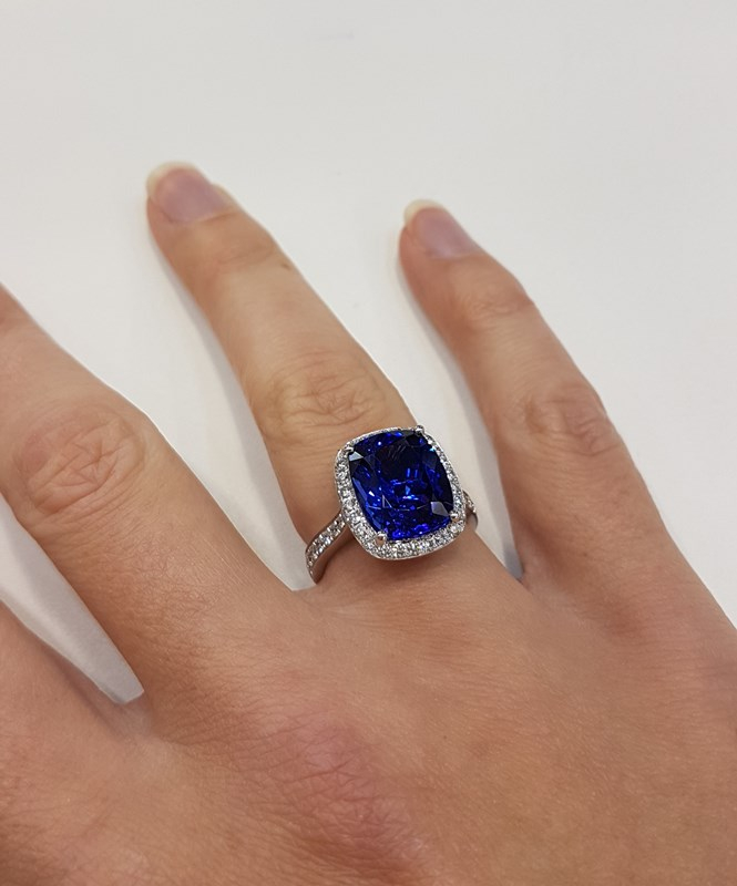 Tanzanite and Diamond ring by W.E. Clark and Son