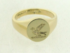 Yellow gold signet ring seal engraved