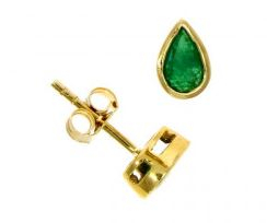 Pear Shaped Emerald Studs