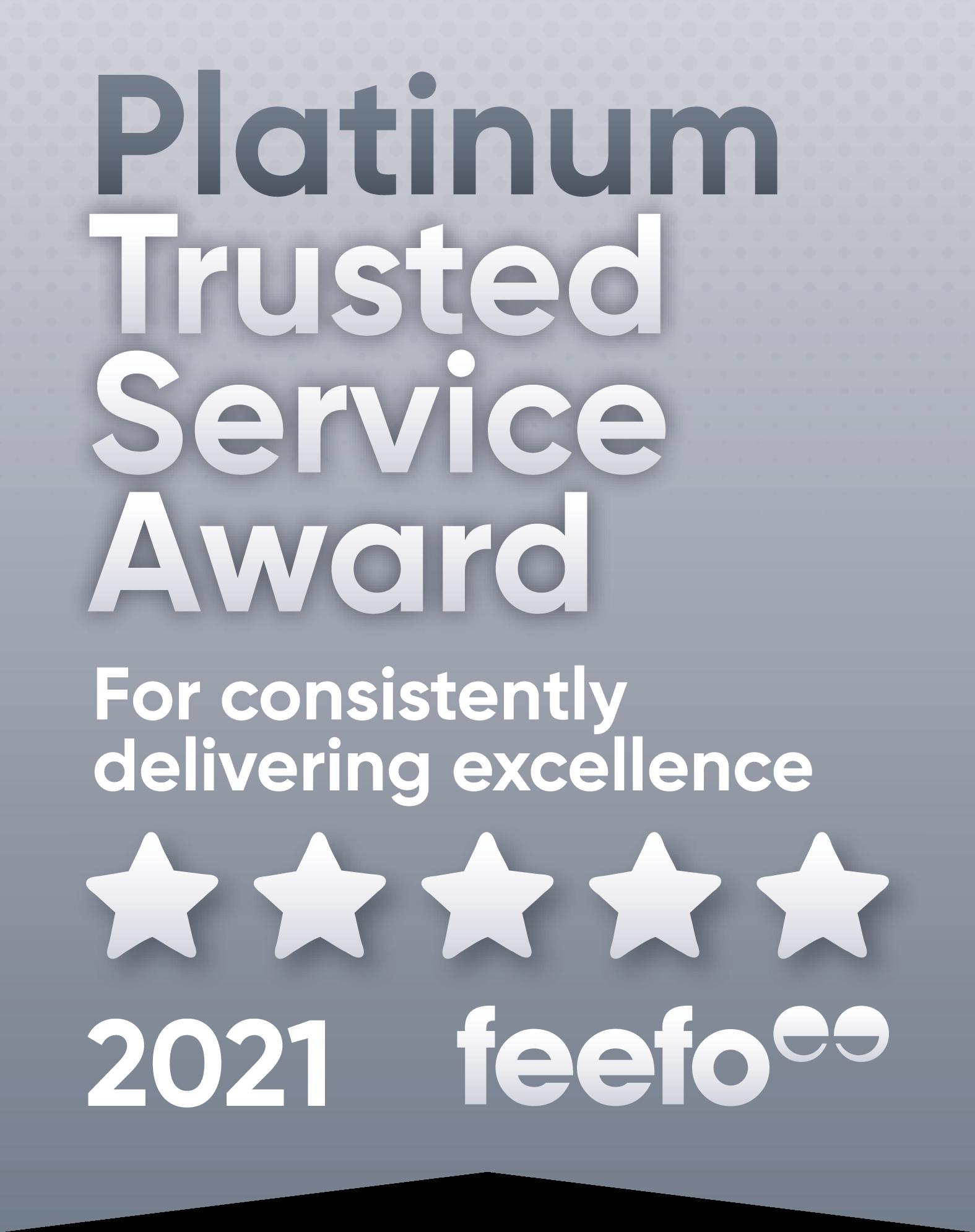 Feefo Trusted Platinum 2021