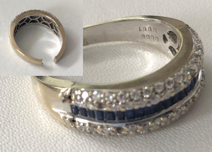 Sapphire and diamond ring repair