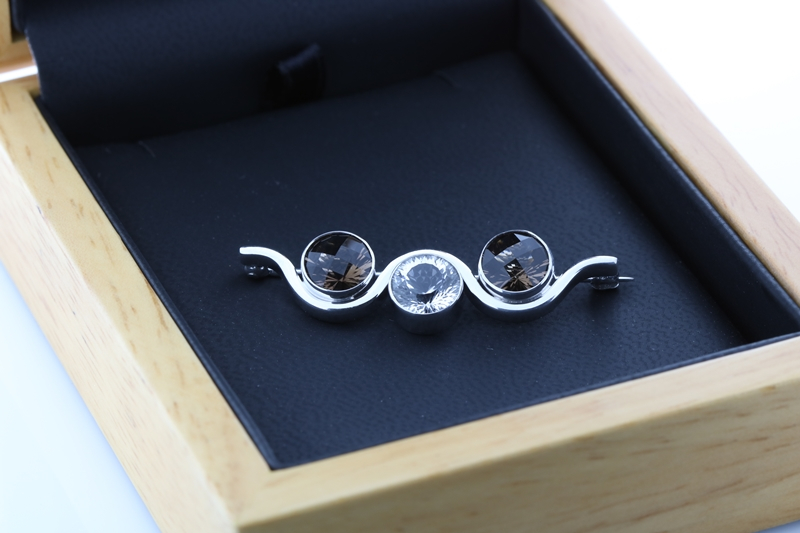 smoky quartz and white topaz brooch