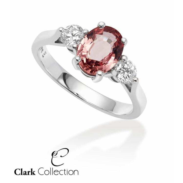 peach coloured sapphire clark collection ring